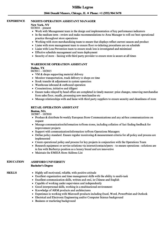 operation assistant resume samples velvet jobs