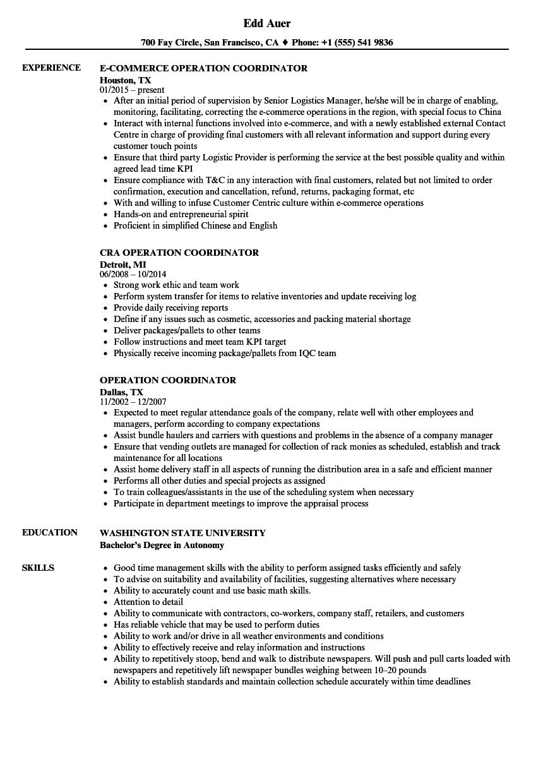 Operation Coordinator Resume Samples | Velvet Jobs