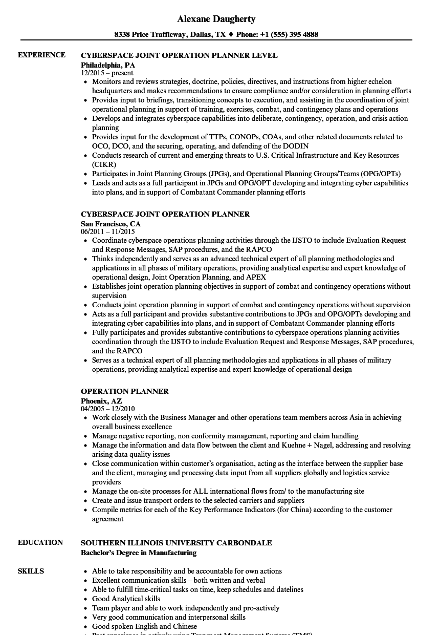 operation planner resume samples velvet jobs