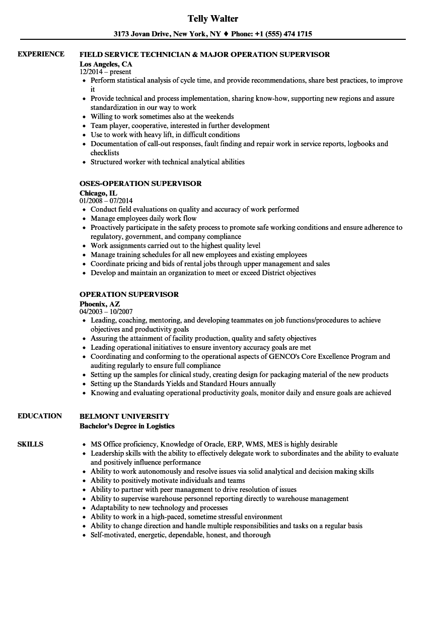 Operation Supervisor Resume Samples | Velvet Jobs