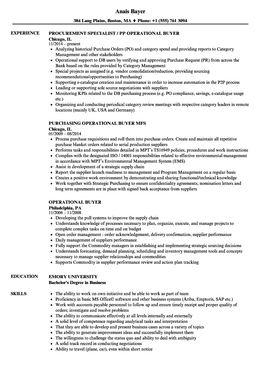 Operational Buyer Resume Samples | Velvet Jobs