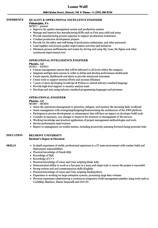 operational engineer resume samples