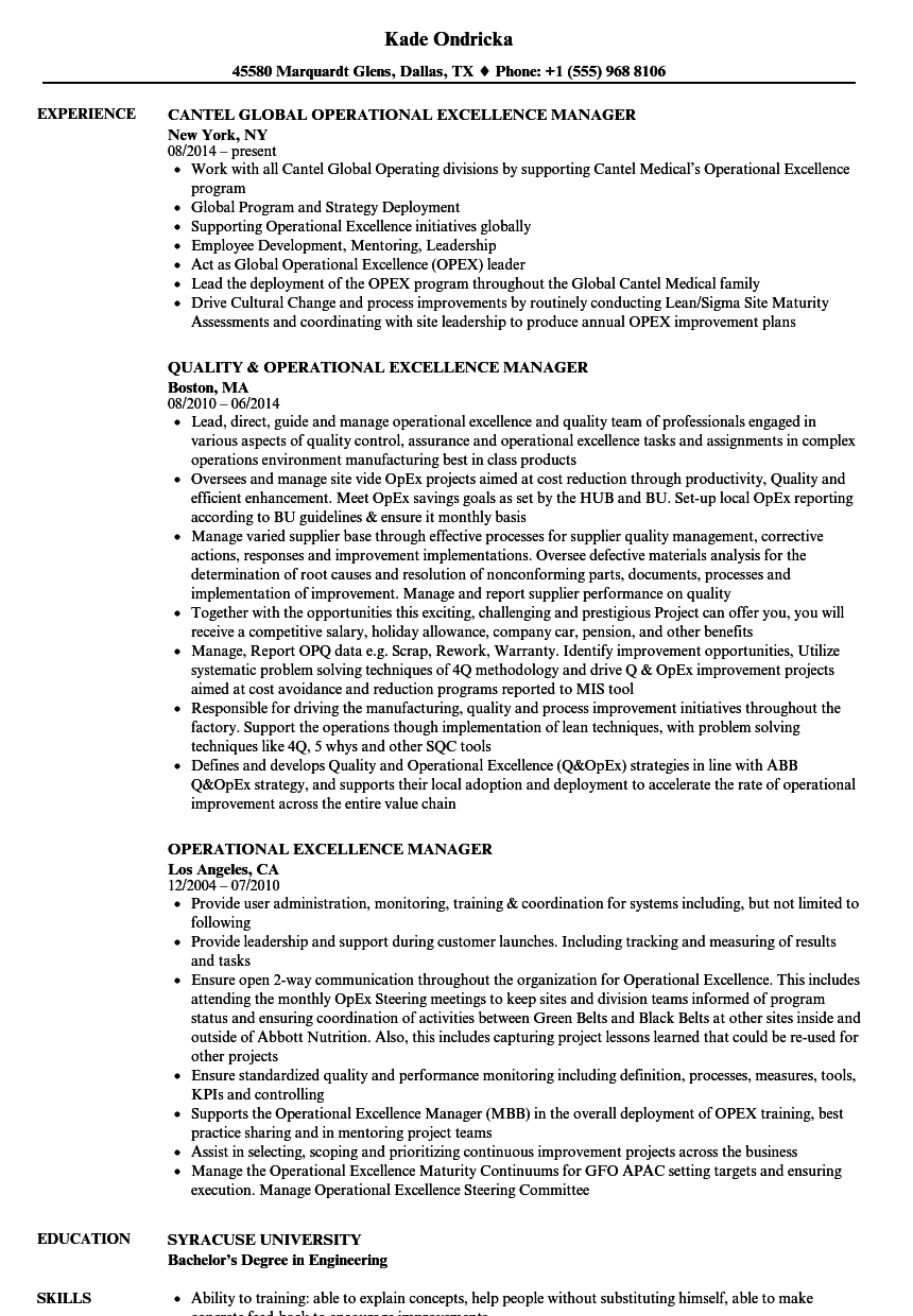 Operational Excellence Manager Resume Samples | Velvet Jobs