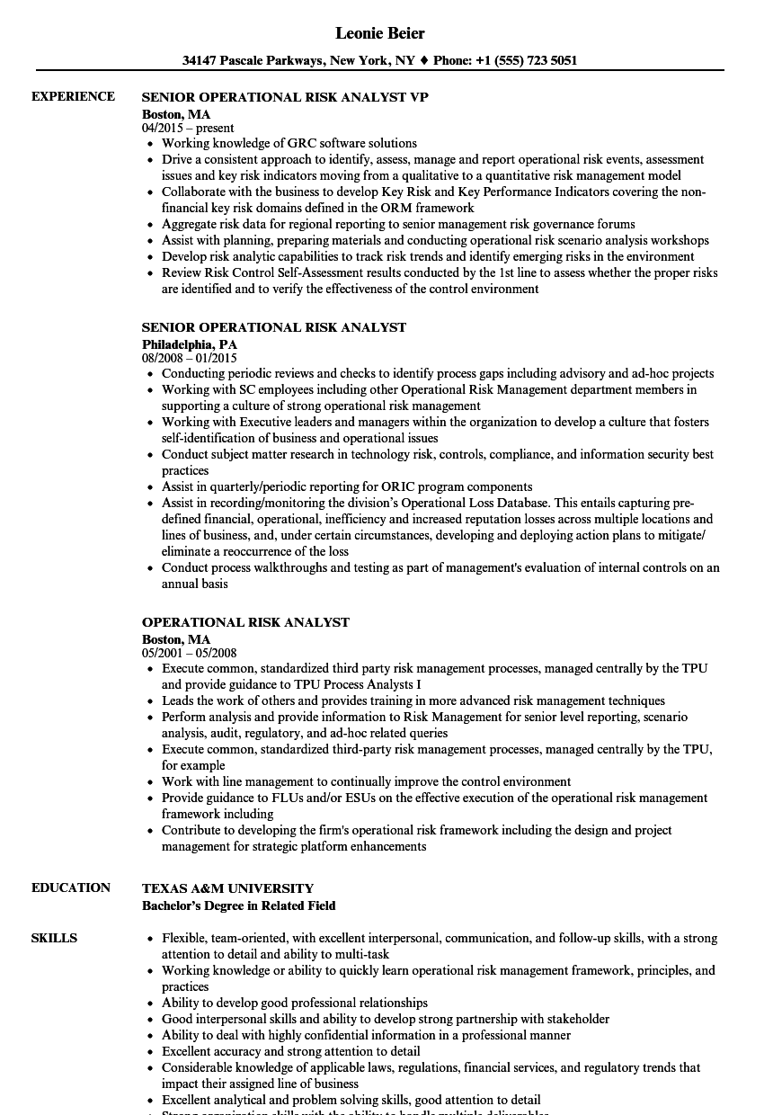 operational risk analyst resume samples