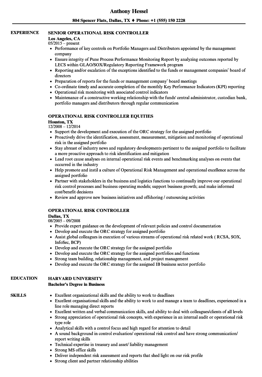 operational risk controller resume samples