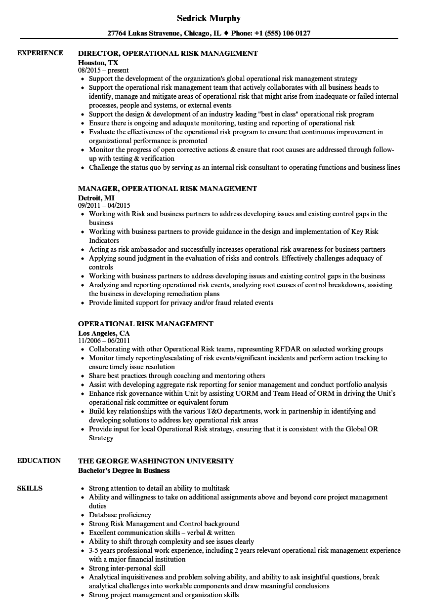 operational risk management resume samples