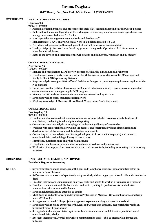 operational risk resume samples