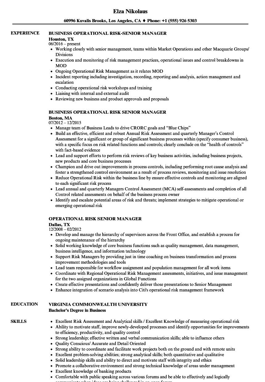 operational risk senior manager resume samples