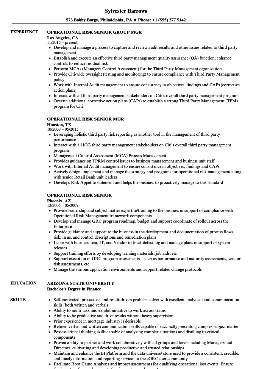 Operational Risk Senior Resume Samples Velvet Jobs