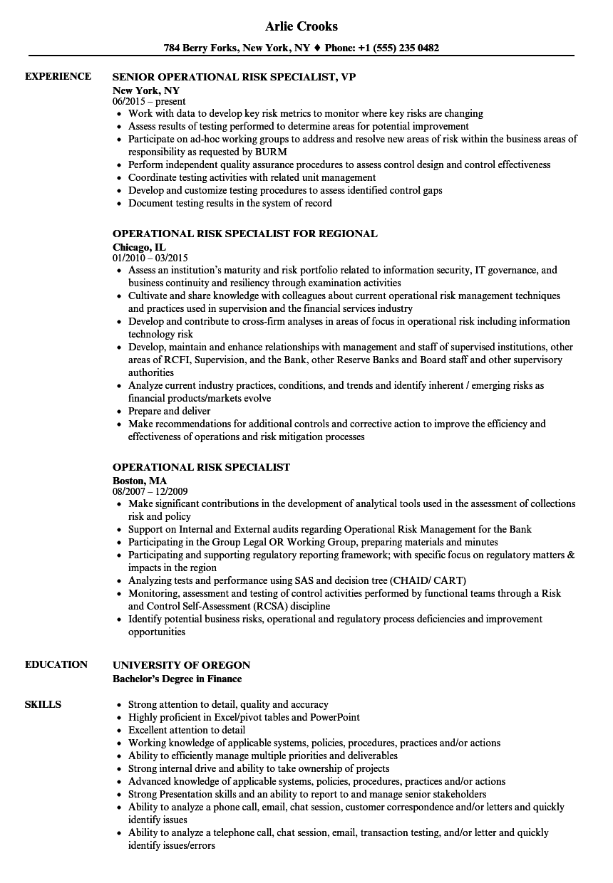Operational Risk Specialist Resume Samples Velvet Jobs