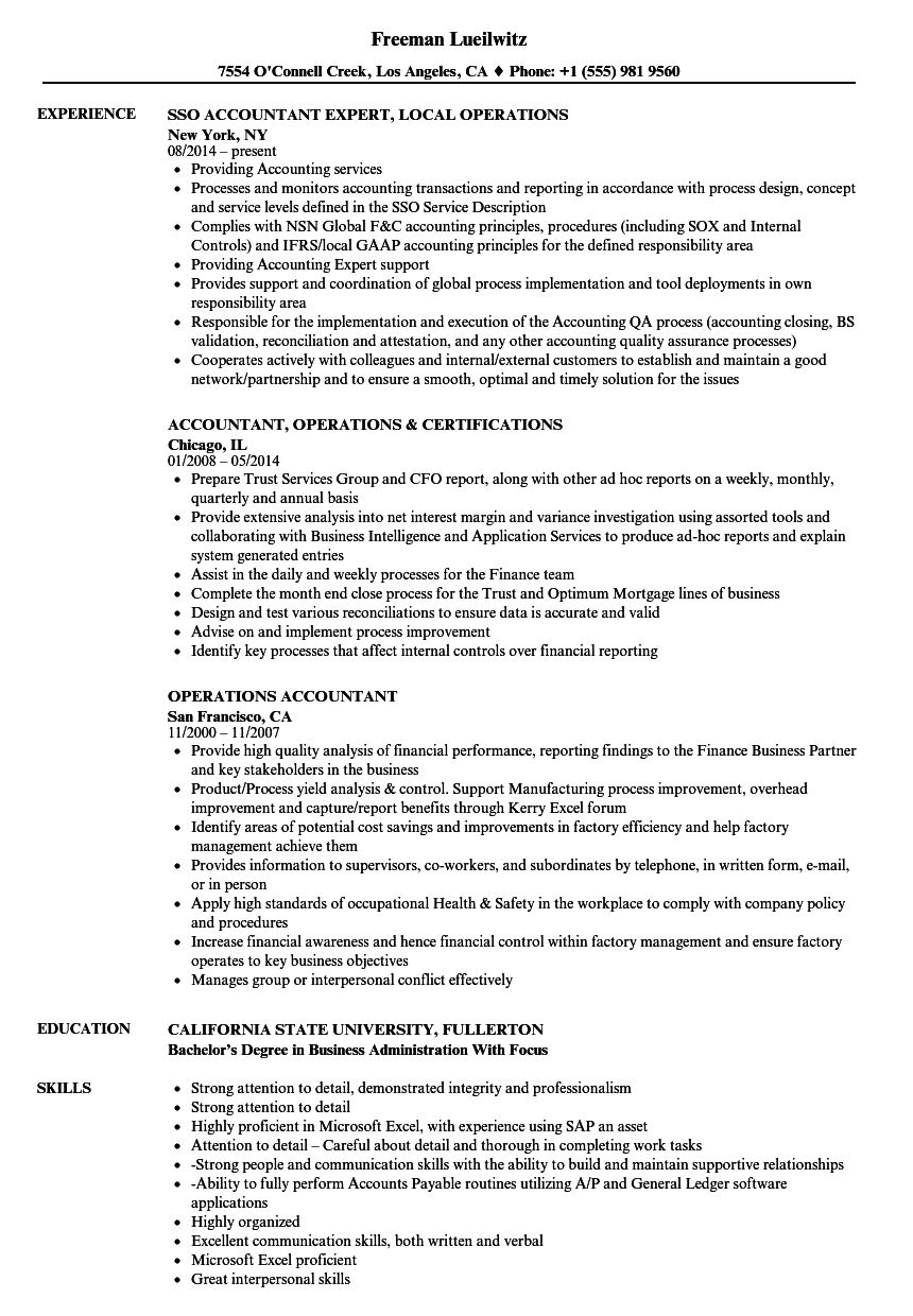 Operations Accountant Resume Samples Velvet Jobs