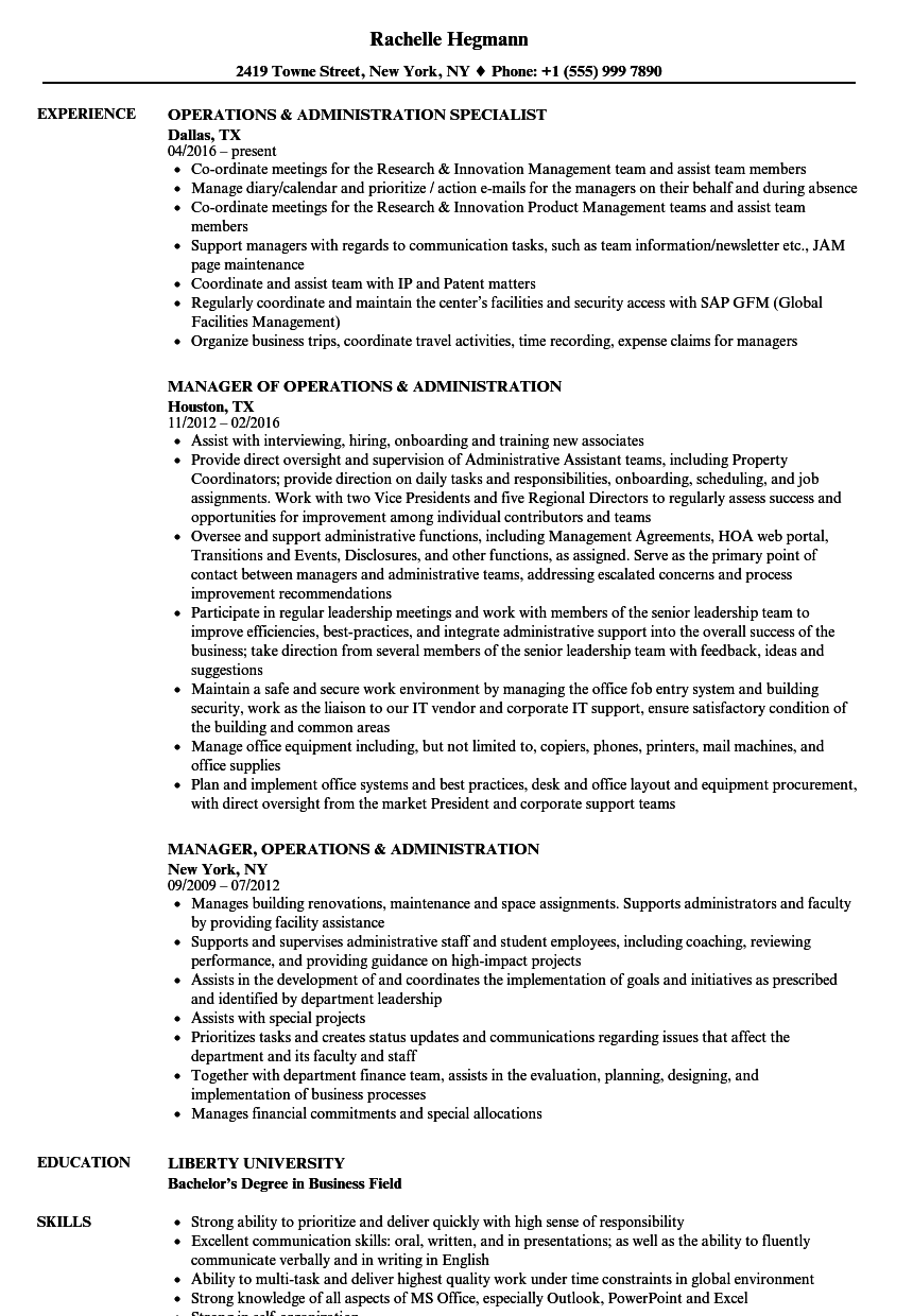 operations  u0026 administration resume samples