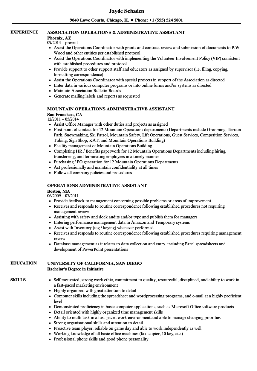operations administrative assistant resume samples