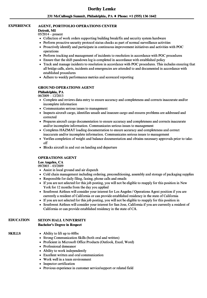 operations agent resume samples