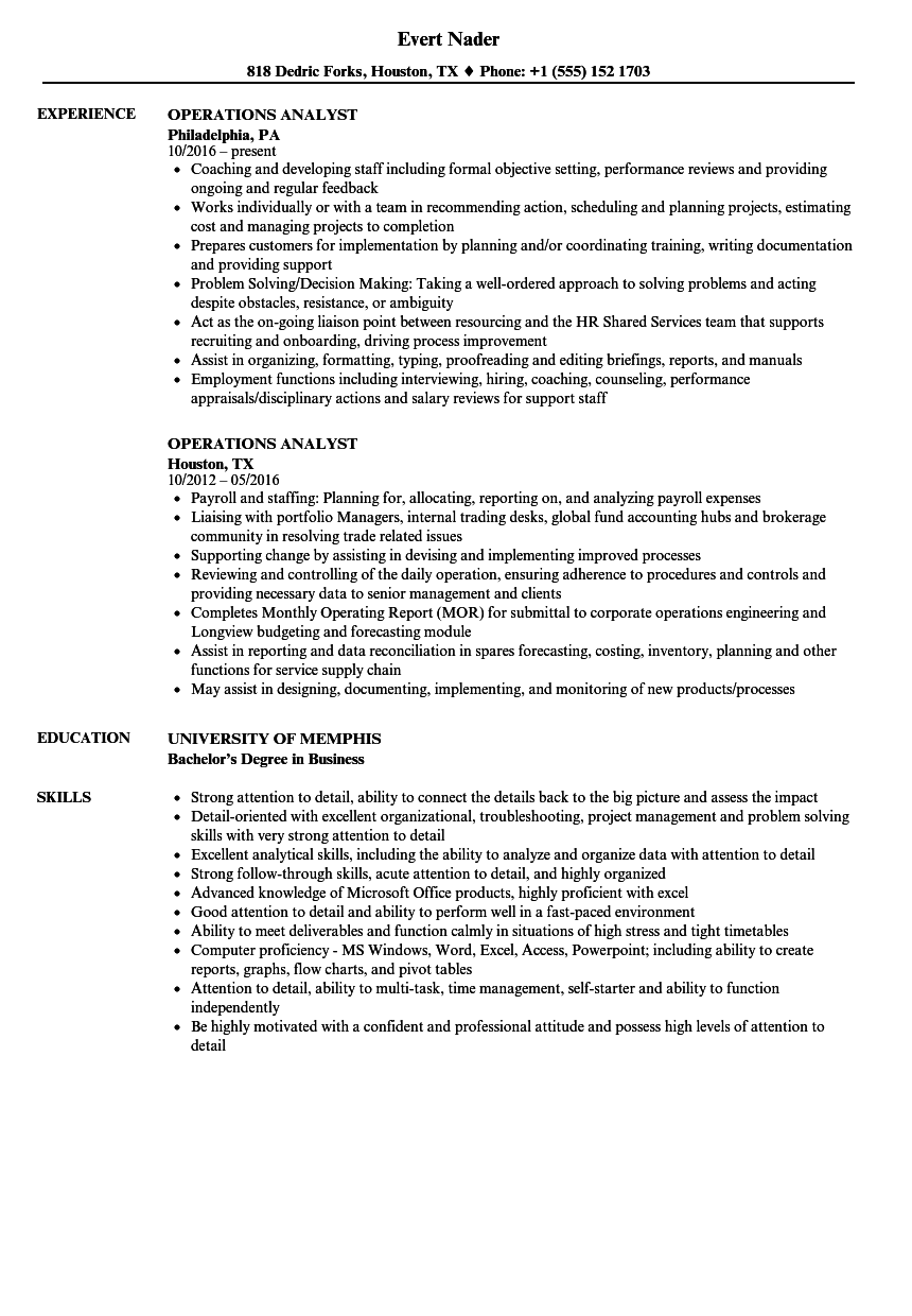 Operations Analyst Resume Samples Velvet Jobs