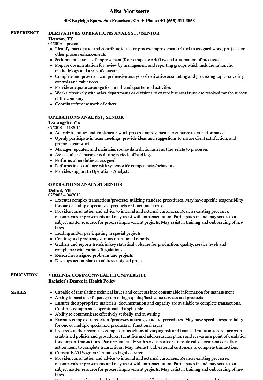 Operations Analyst Senior Resume Samples | Velvet Jobs