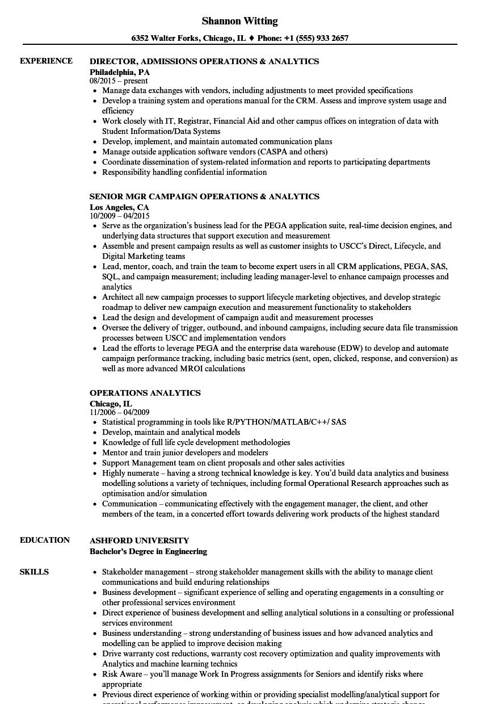 Operations Analytics Resume Samples | Velvet Jobs