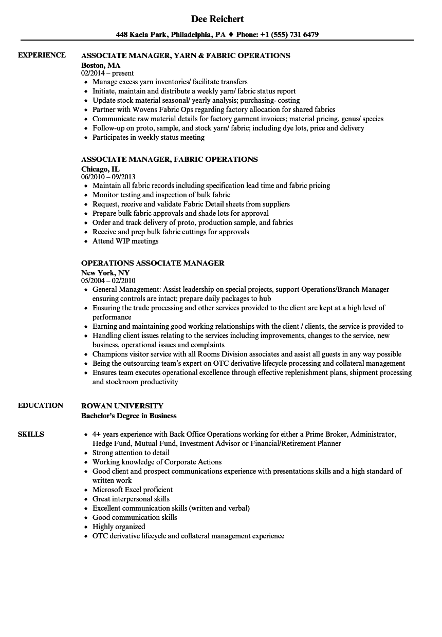 Operations Associate Manager Resume Samples | Velvet Jobs