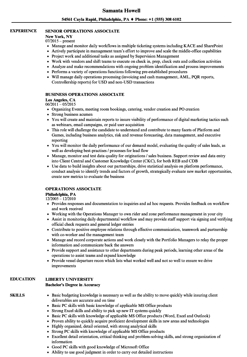 operations associate resume samples velvet jobs