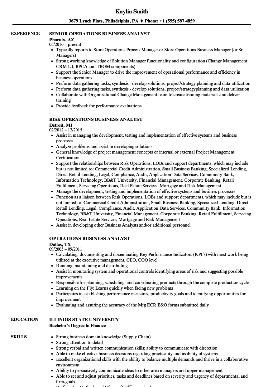 download operations business analyst resume sample as image file