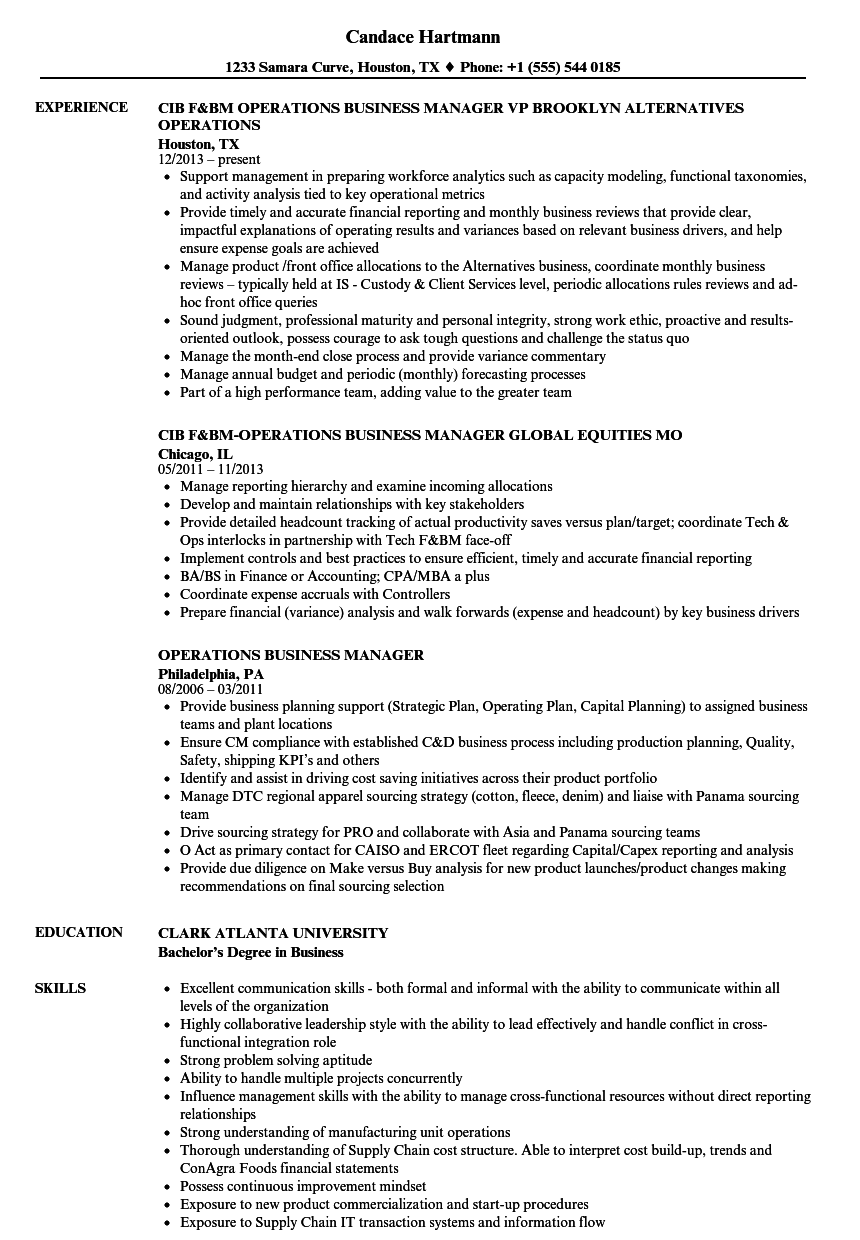 download operations business manager resume sample as image file - Business Manager Resume