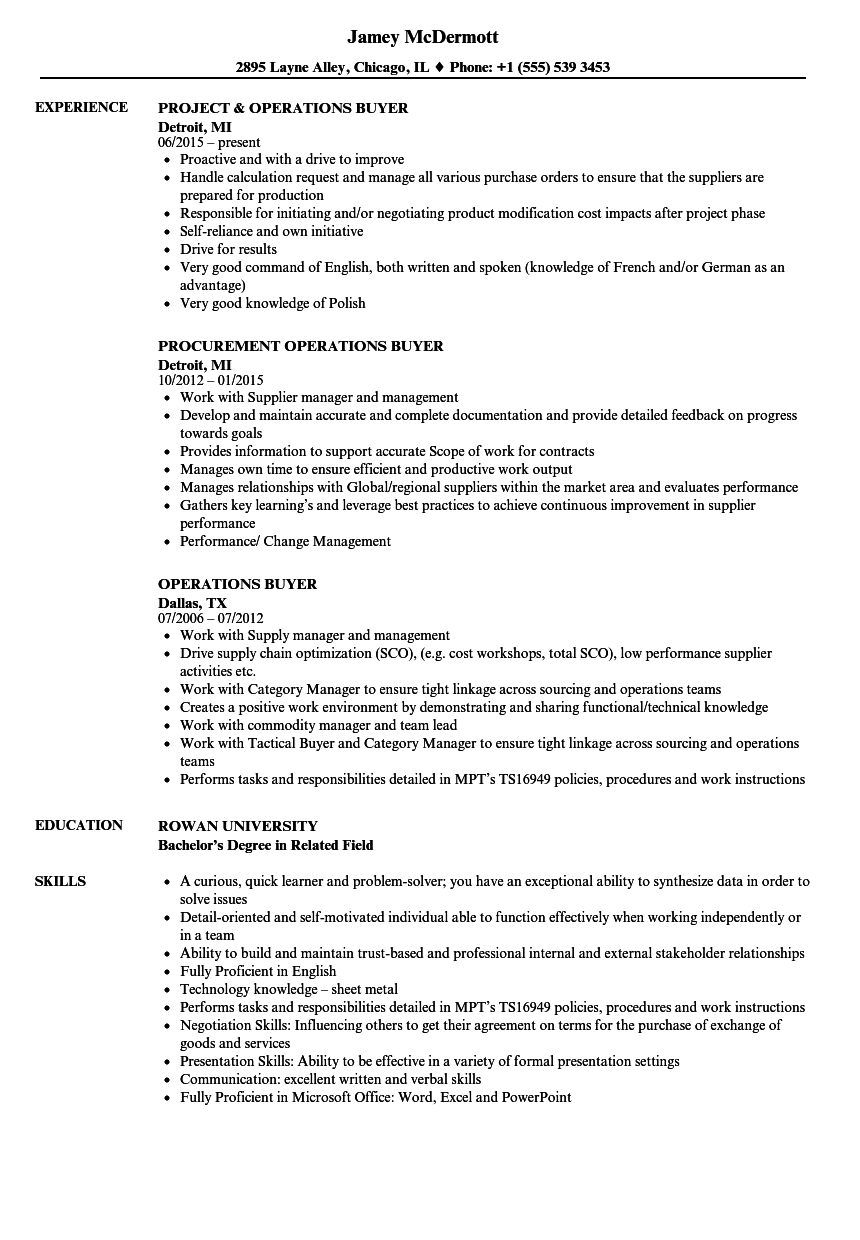 operations buyer resume samples