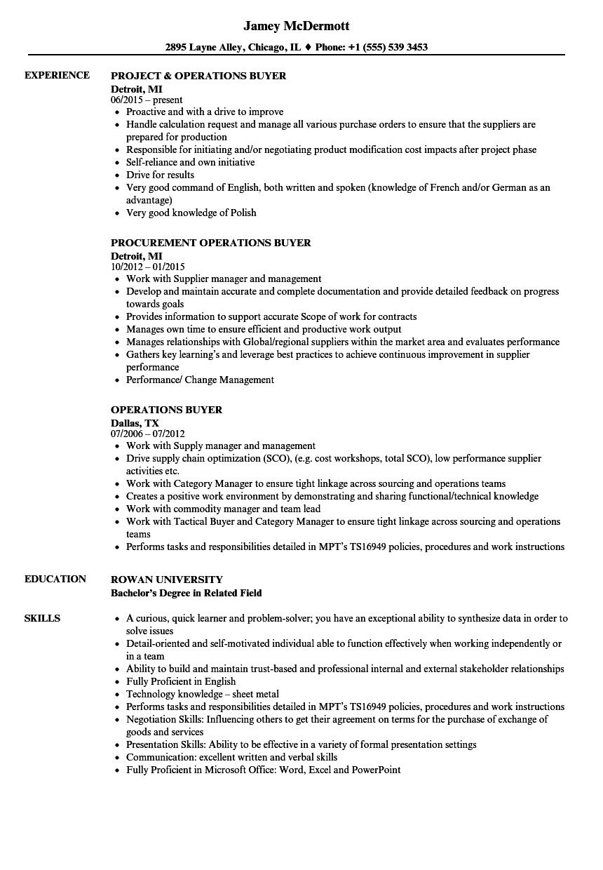 Operations Buyer Resume Samples Velvet Jobs