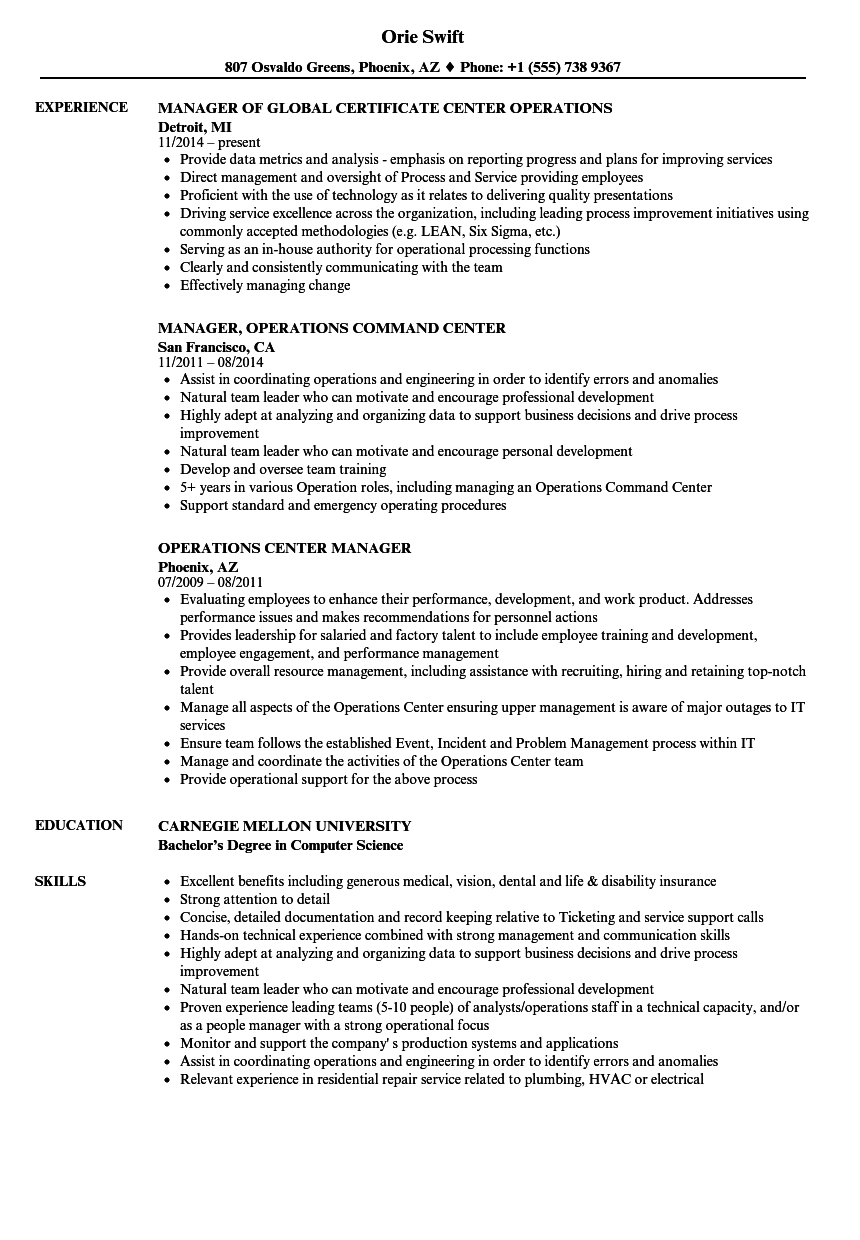 operations center manager resume samples
