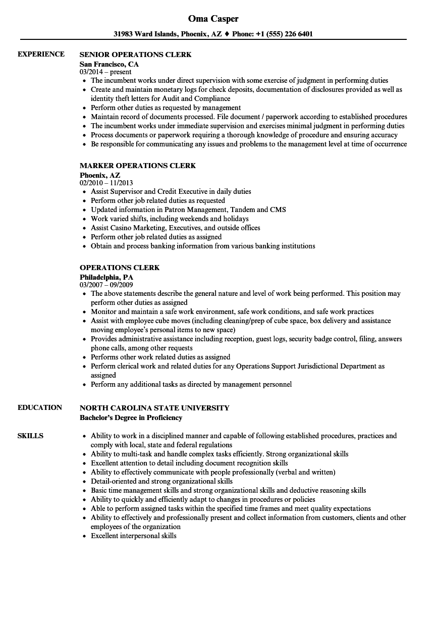 Download Operations Clerk Resume Sample As Image File