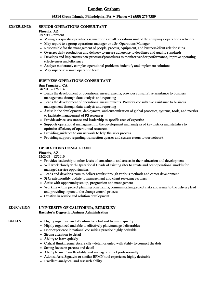 operations consultant resume samples