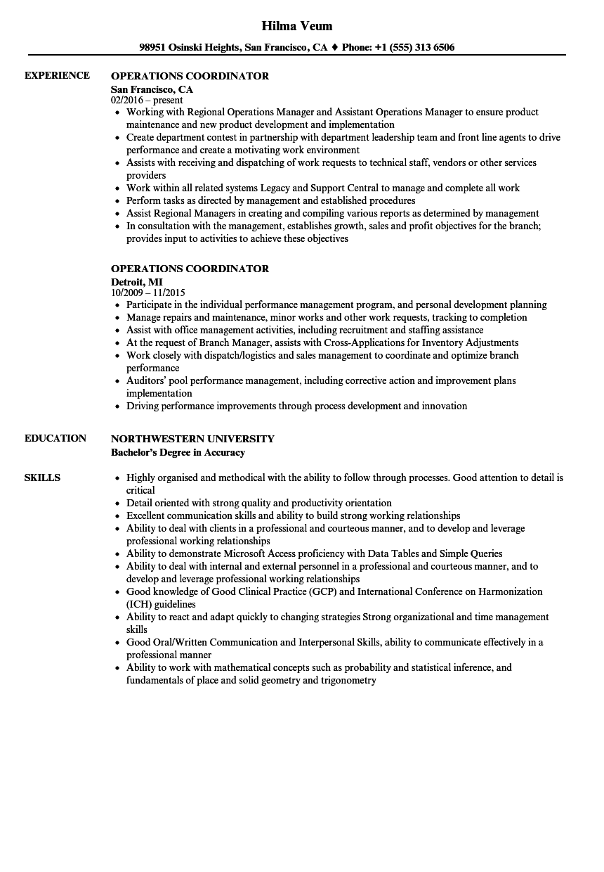 operations coordinator resume samples