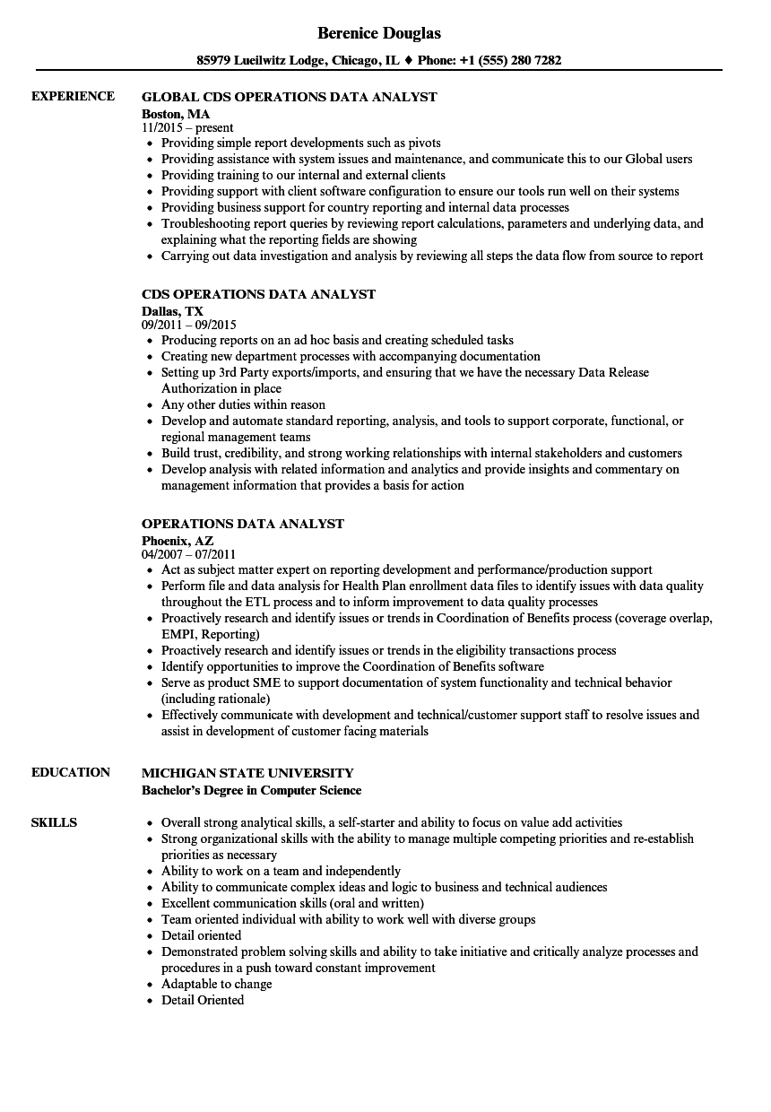 operations data analyst resume samples