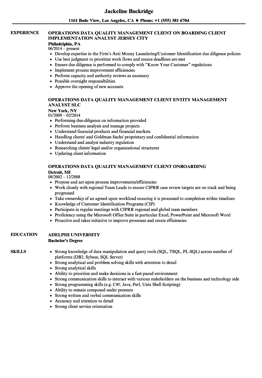 Operations Data Quality Management Resume Samples Velvet Jobs