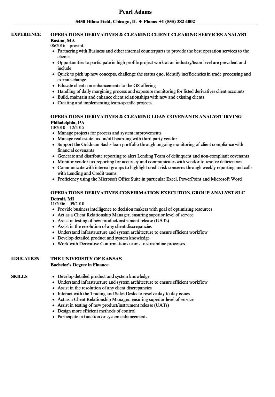 operations derivatives resume samples