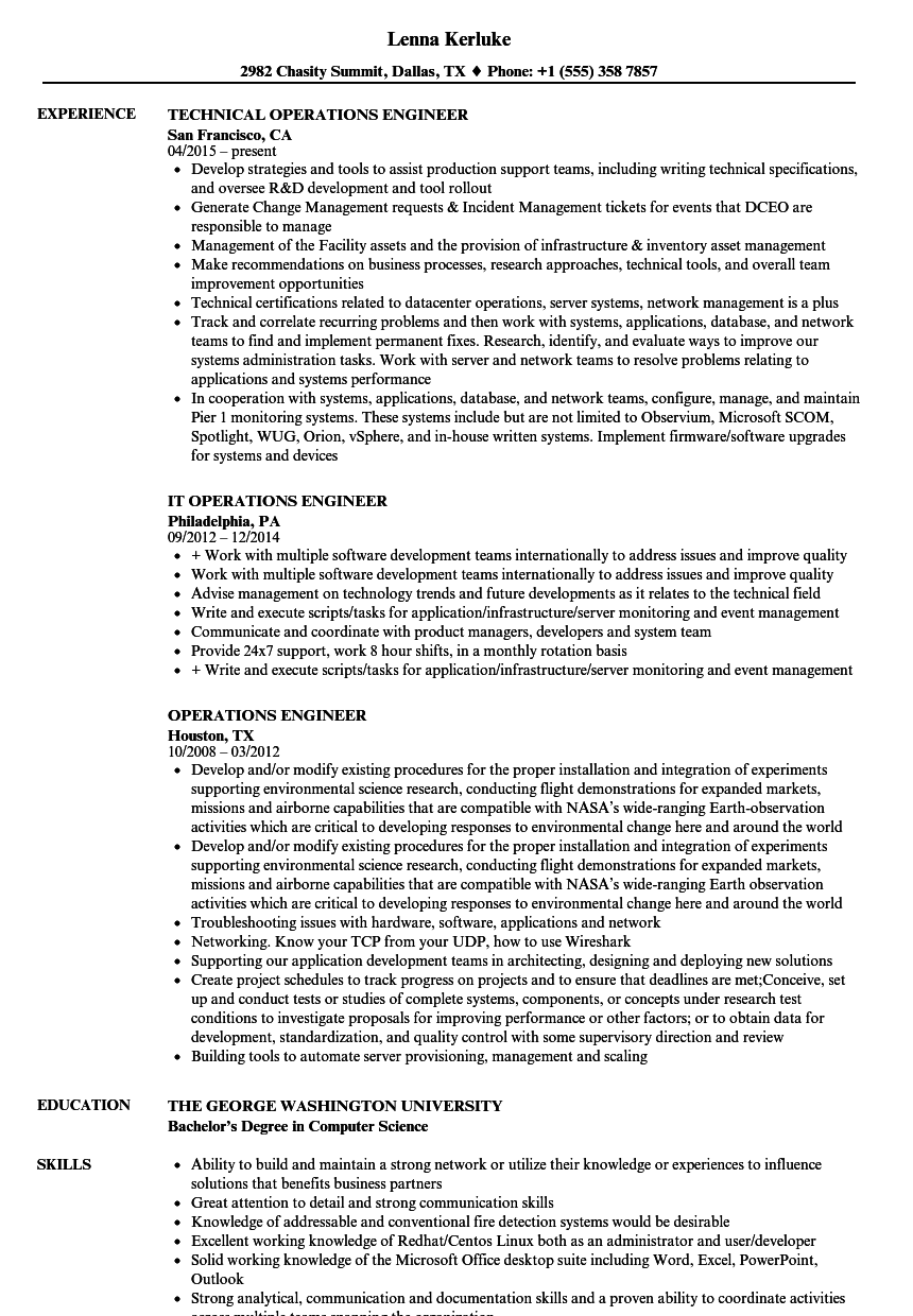 Operations Engineer Resume Samples Velvet Jobs