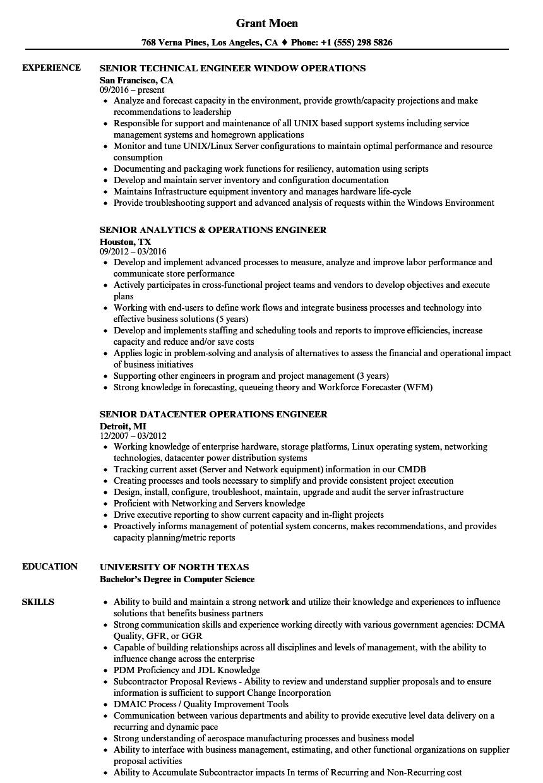 Operations Engineer Senior Resume Samples | Velvet Jobs