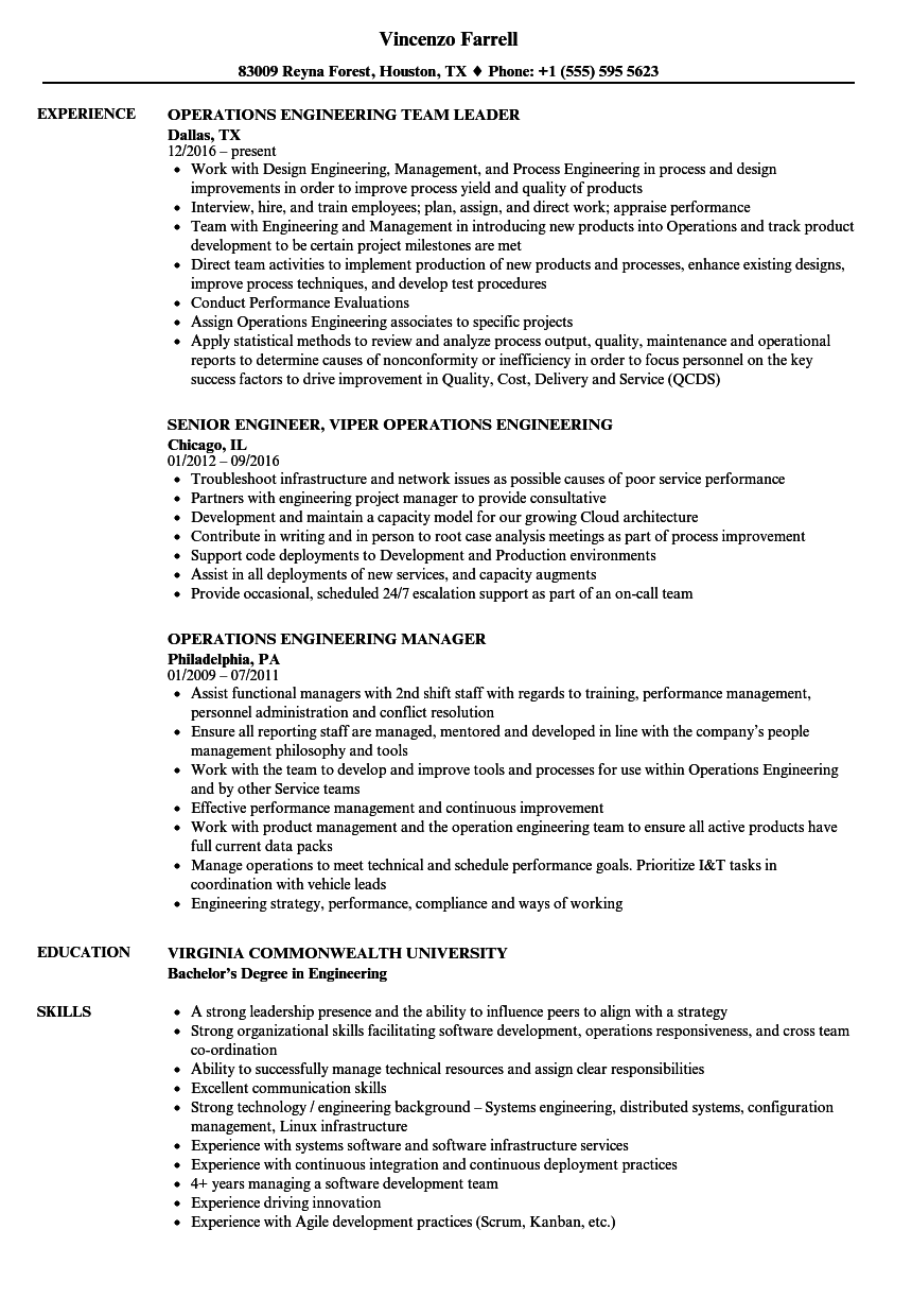 Good Download Operations Engineering Resume Sample As Image File