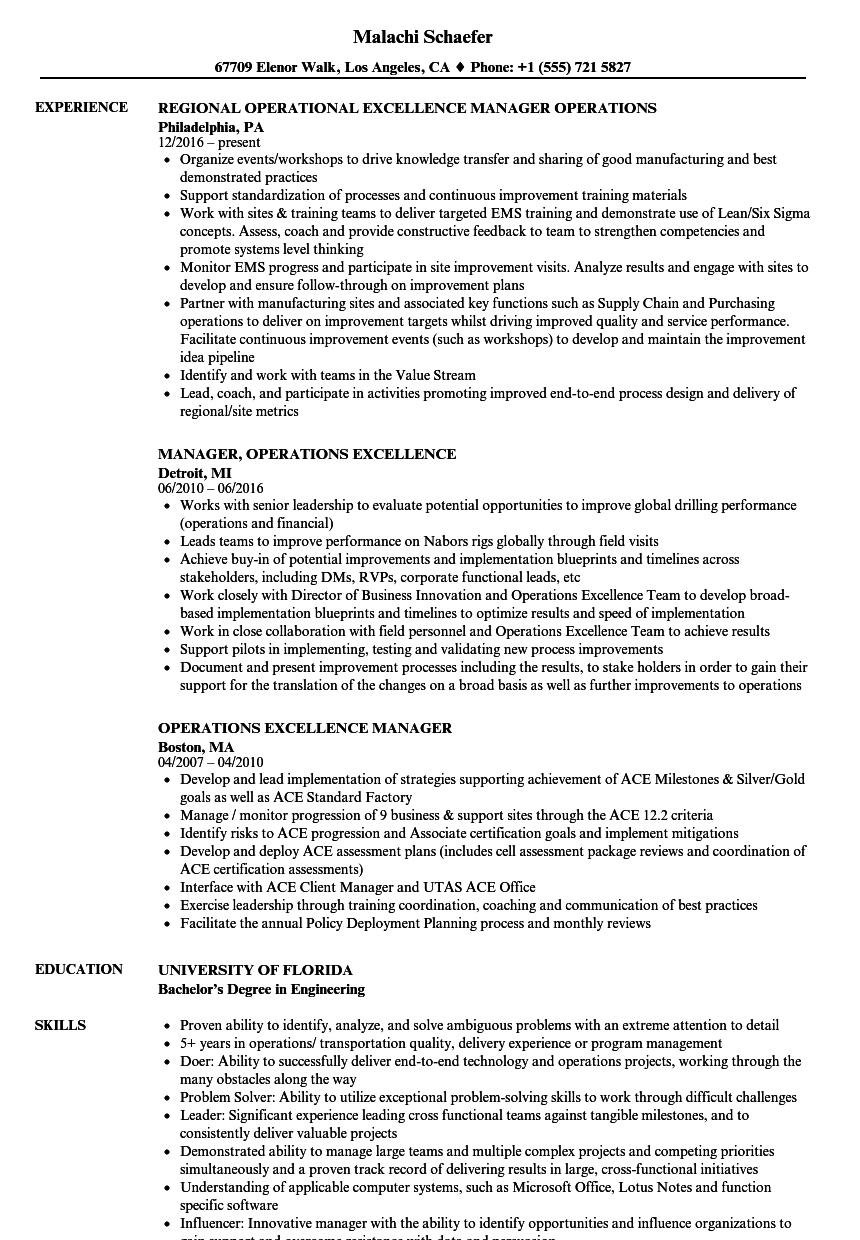 operations excellence manager resume samples