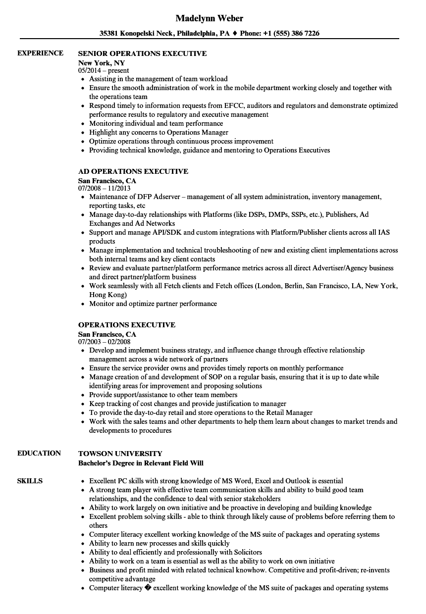 Operations Executive Resume Samples | Velvet Jobs