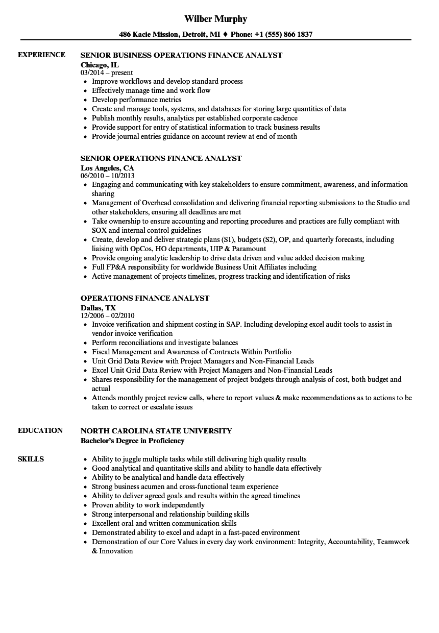 operations finance analyst resume samples