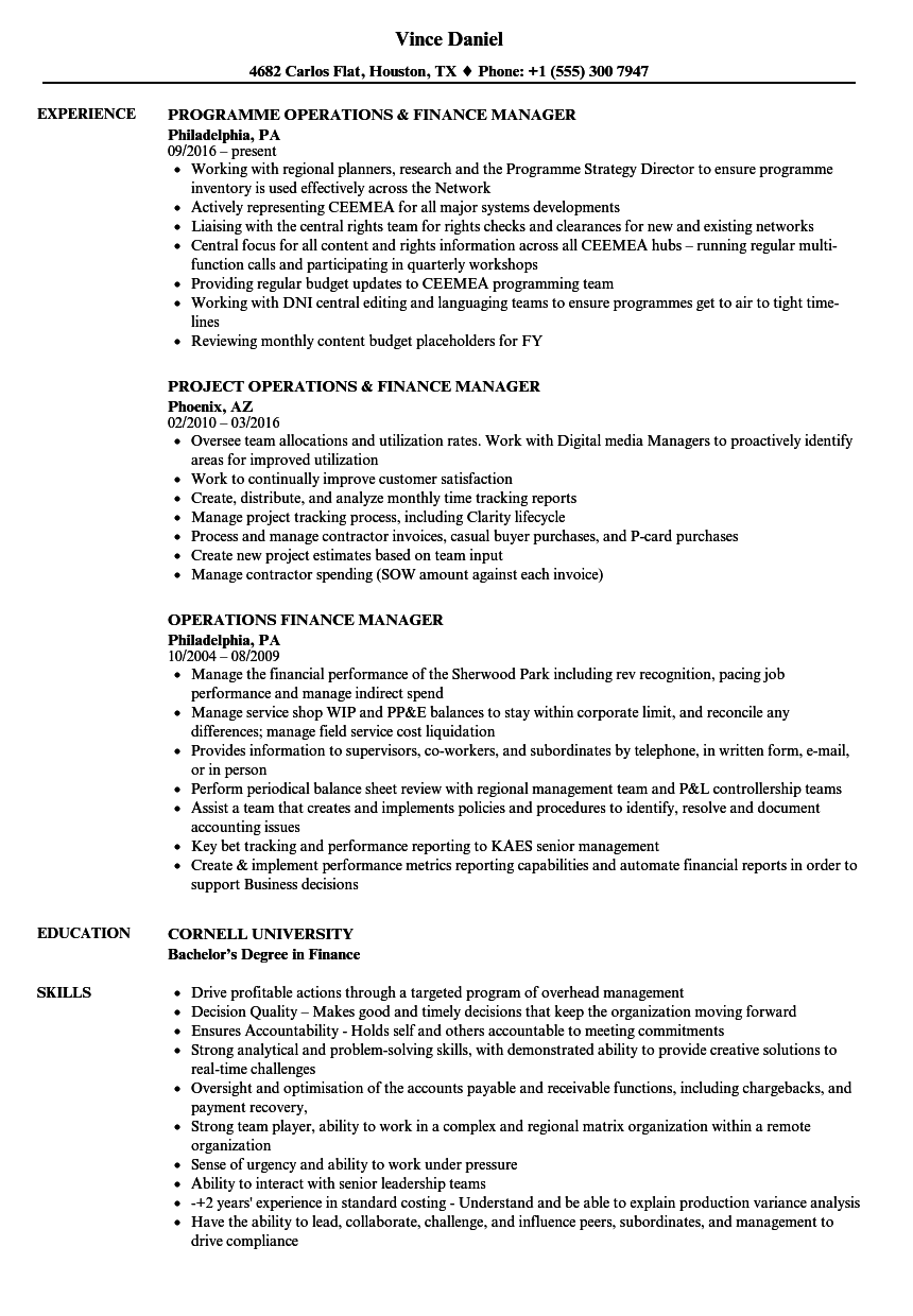 Operations Finance Manager Resume Samples Velvet Jobs