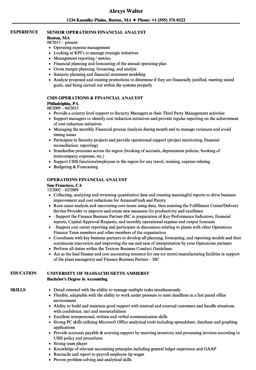 Operations Financial Analyst Resume Samples | Velvet Jobs