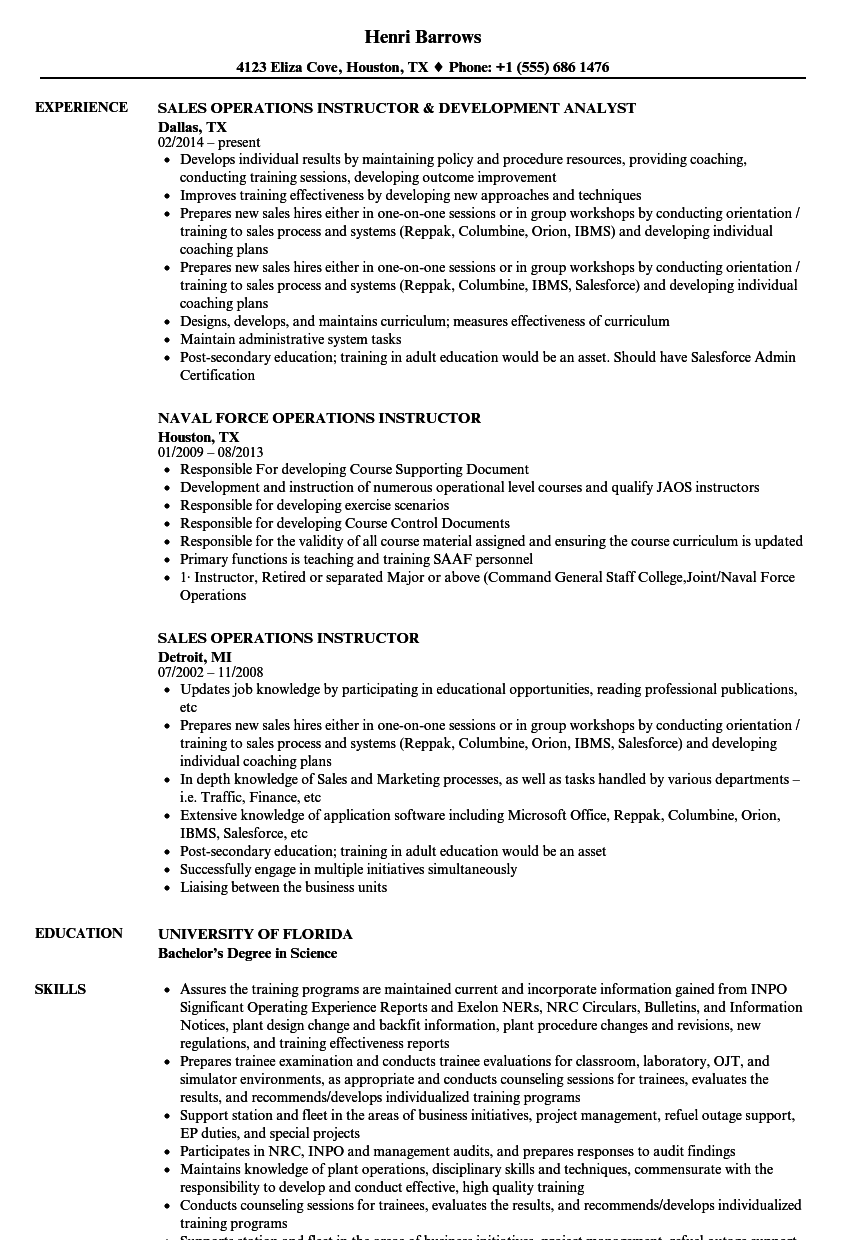 operations instructor resume samples