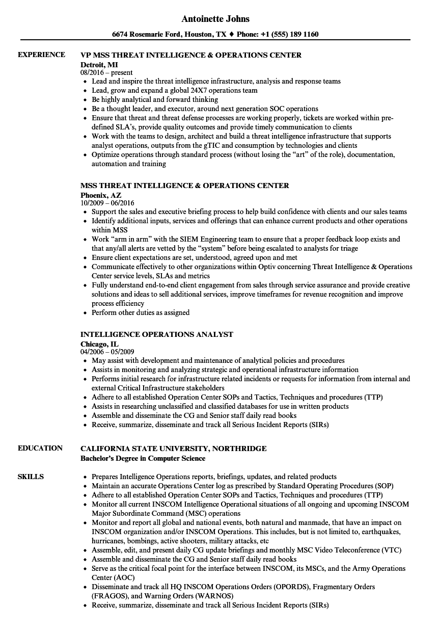 operations intelligence resume samples