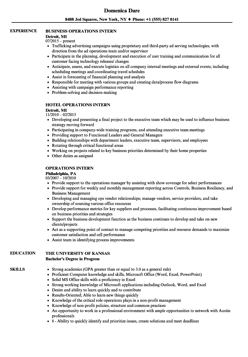 Operations Intern Resume Samples | Velvet Jobs
