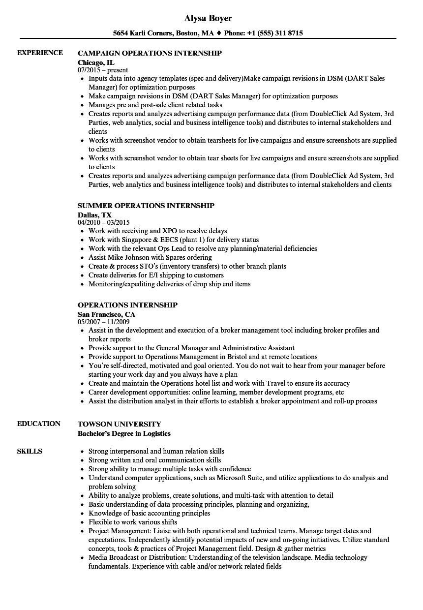 operations internship resume samples