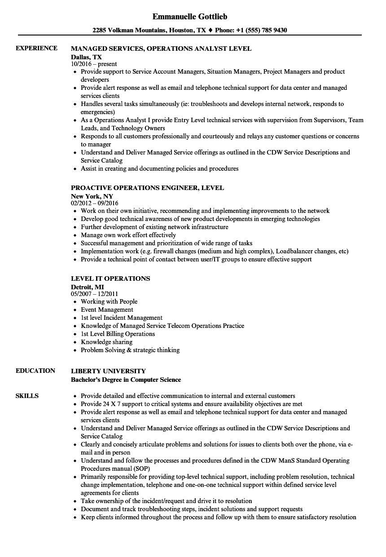 Operations Level Resume Samples | Velvet Jobs
