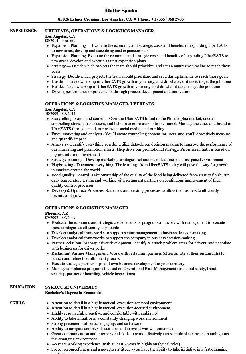 Operations & Logistics Manager Resume Samples | Velvet Jobs