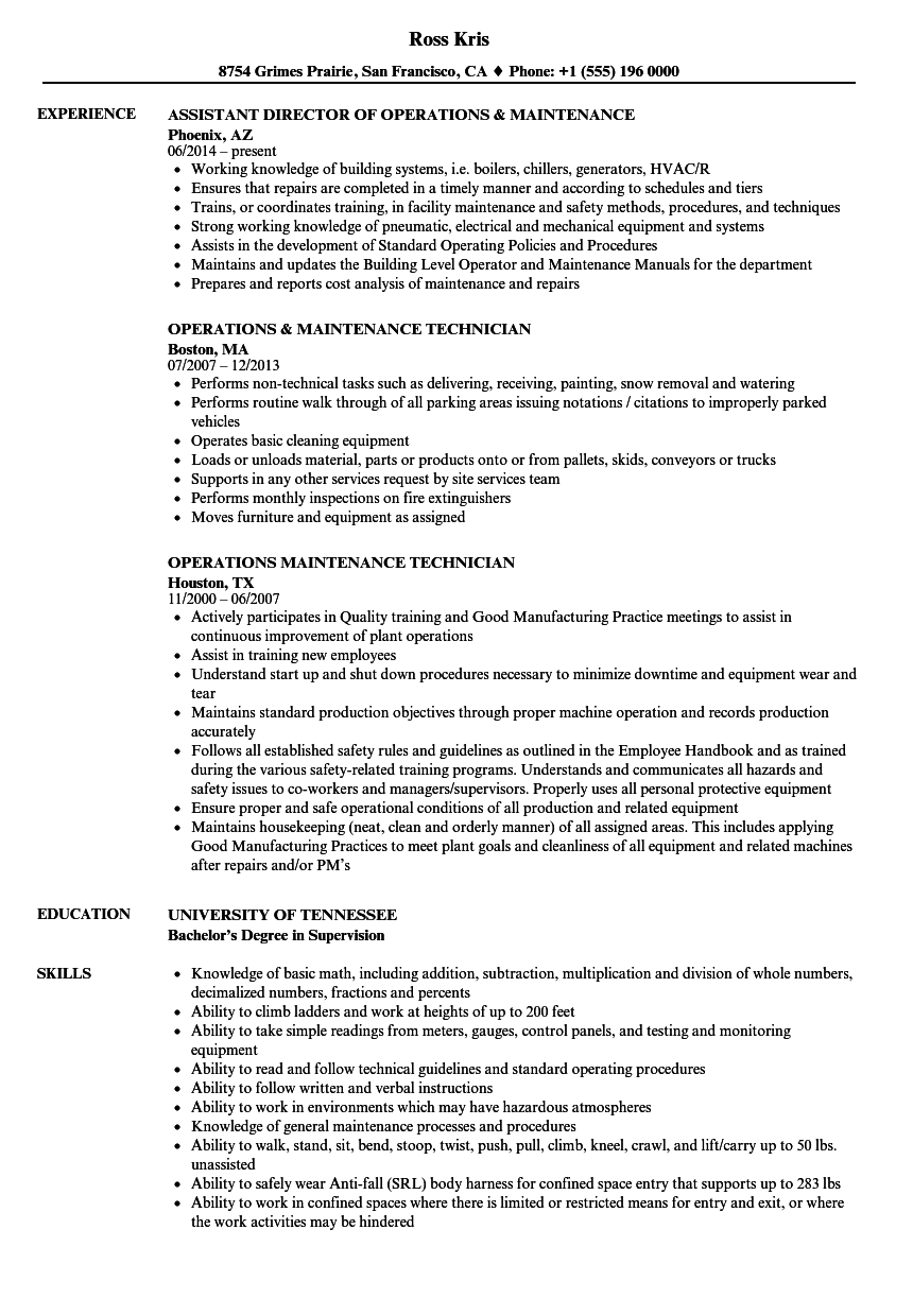 operations  u0026 maintenance resume samples