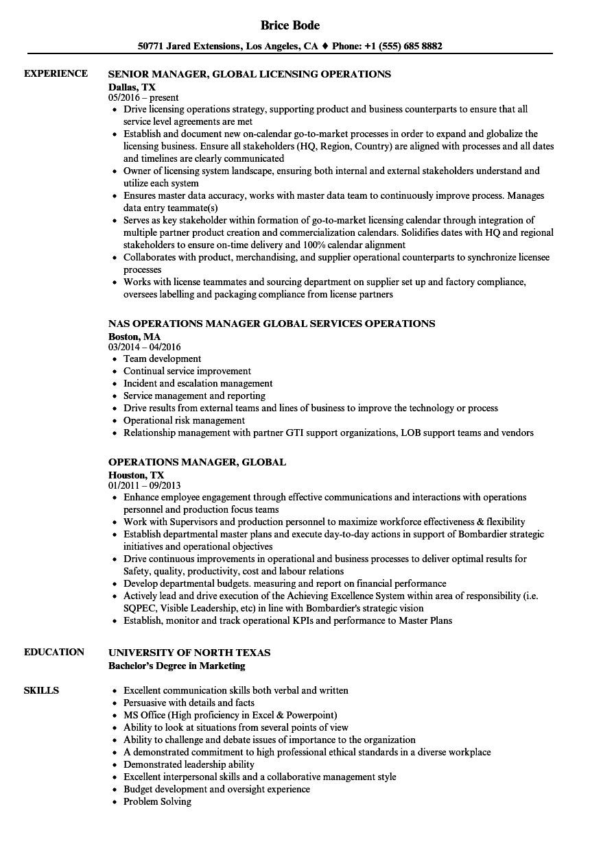 Download Operations Manager, Global Resume Sample As Image File  Resume For Operations Manager
